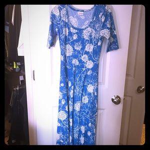 EUC Lularoe blue and cream floral Ana size XS